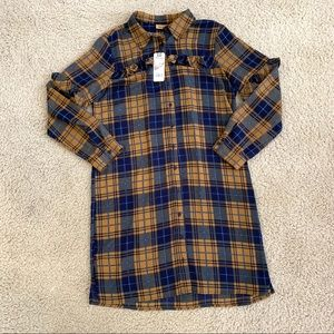 NWT Wrangler Plaid Ruffle Shirtdress
